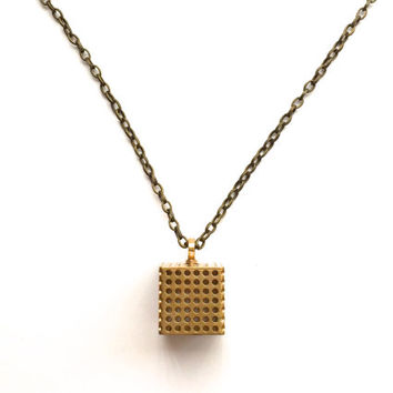 SALE pendant 3D printed geometric necklace - Perforated Cube Pendant in Solid Raw Brass. modern jewelry.