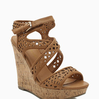 Madison 88 Laser Cut Strappy Cork Wedge