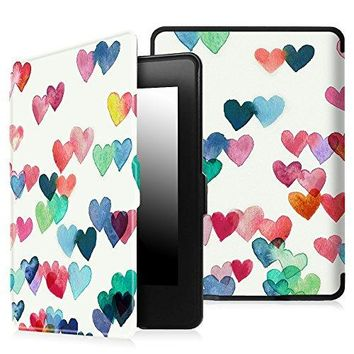 Fintie Case for Kindle Paperwhite - The Thinnest and Lightest PU Leather Cover Auto Sleep/Wake for All-New Amazon Kindle Paperwhite (Fits All 2012, 2013, 2015 and 2016 Versions), Raining Hearts