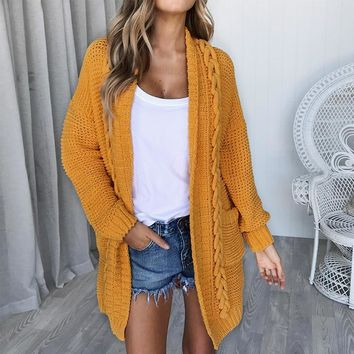 Glamaker Loose yellow knitted thick long cardigan Female coat grey winter sweater Women fitness cotton fashion casual jumper