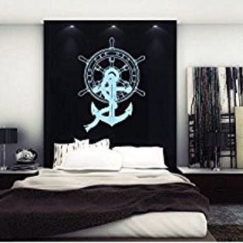 Wall Decal Vinyl Sticker Decals Art Decor Design Wheel Anchor Symbol Nautical Salior Ocean Sea Quote Living Room Bedroom (R1237)