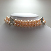 Peach Glass Pearl Double Strand Choker Necklace with Rhinestone Butterflies