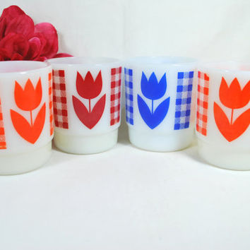 Vintage Milk Glass Mugs Tulip Flower Red Orange and Blue , Set of 4 Milk Glass Cups Retro style