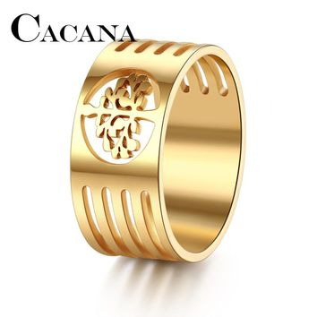CACANA HIP Punk Gold Color 316L Stainless Steel Wisdom Tree Tree Of Life Rings For Men Jewelry FULL Size 7-11 DROP SHIPPIING