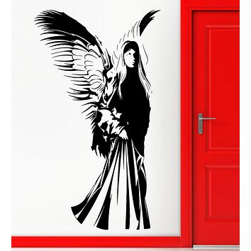 Vinyl Decal Christian Angel With Wings Religion Christianity Religious Decor Wall Sticker Unique Gift (z2241)