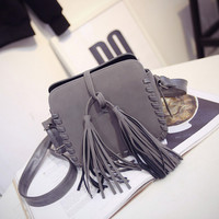 Tassel Small Leather Crossbody Shoulder Handbag