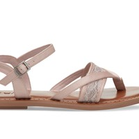 PETAL PINK LACE GROSGRAIN WOMEN'S LEXIE SANDALS