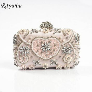 Rdywbu Luxury Handmade Diamonds Chain Evening Bag 2017 Fashion American Beaded Shoulder Bag Pearl Party Purse Clutch Bolso B169