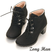 Woman's Chic Lace Up Mid Heel Ankle Boots in Black, Brown