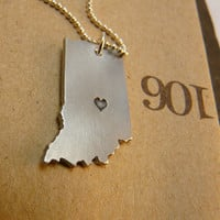 I Heart INDIANA  aluminum handmade necklace
