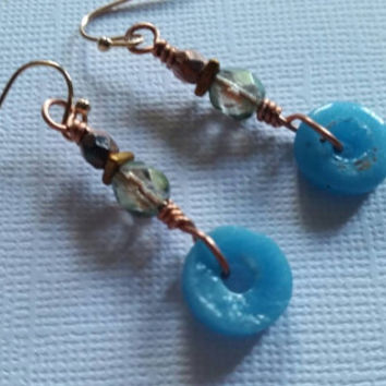 Live again. Artisan earrings. Recycled glass. Etched beads. Copper. Iridescence. Rose gold vermeil.