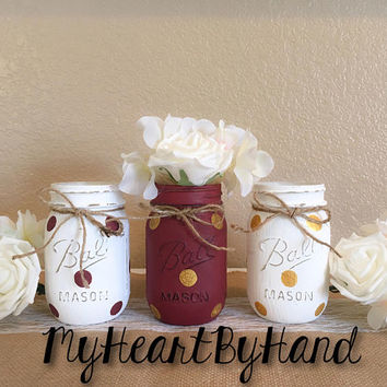 Burgundy and Gold Mason Jars, Graduation and University Centerpieces, Gold Polka Dots, Distressed Mason Jars, Rustic Home Decor, Vases