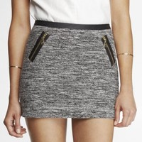 ZIPPERED MARLED BOUCLE MINI SKIRT