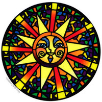 Stained Glass Sun 2-Sided Window Sticker on Sale for $3.99 at HippieShop.com