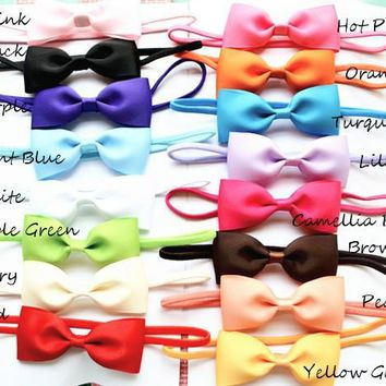 2.5inch Ranbow Colors Big Bows for hair Children Ribbon Bowknot Baby hair accessories Newborn Infant Girls Bow Headbands 30pcs