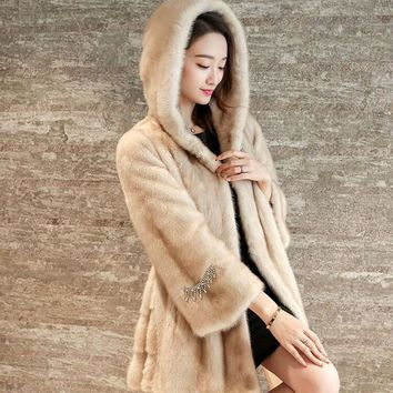 The new imitation of the mink fur fur coat 2017 autumn and winter women's long hooded fashion temperament jacket