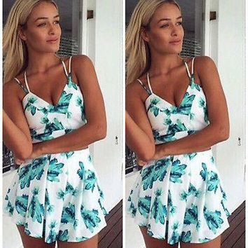 Women Sets Summer Floral Printed Party Evening Beach Shorts Size Sleeveless Sexy tops +Short Pants outfits set for women 2018