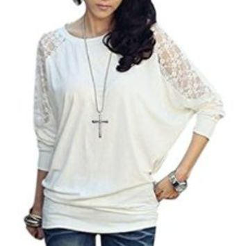 AM CLOTHES Womens Loose Batwing Long Sleeve Bottoming Shirt White Medium