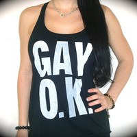 "Utopia Apparel ""GAY O.K."" Flowy Knotted Racerback Tank In Black"