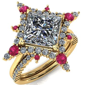 Thalim Princess/Square Moissanite 4-Point Star Ruby and Diamond Halo Ring