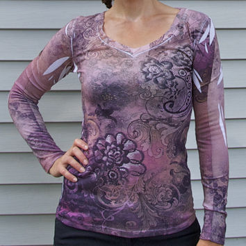 Long Sleeve V-Neck Graphic Tee