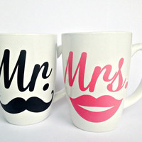 MR + MRS Mustache & Lip Set Custom Coffee Cappuccino Mugs