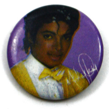 Vintage 80s Michael Jackson Pinback Button Pin Badge