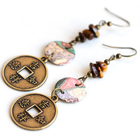 I-Ching Chinese Coin Earrings, Yoga Jewelry, Asian Earrings