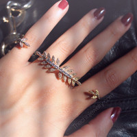 Gold Statment 2 Finger Ring (Fits size 6/7)