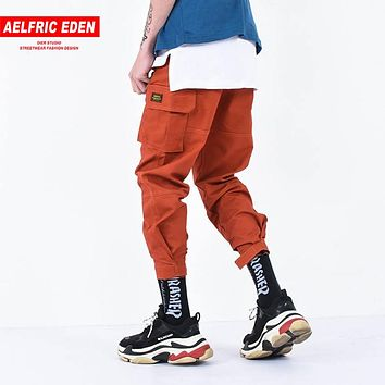 Aelfric Eden Casual Cargo Pants Men Brand Clothing Feet Sweatpants Male Stretch Pockets Hip Hop Orange Ankle-length Joggers KT65