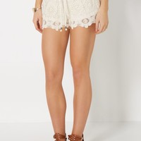 Cream Crochet Medallion Short | Soft Shorts | rue21