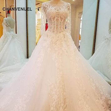 LS66287 special wedding dresses lace ball gown corset back wedding gowns 2017 robe de mariage real photos