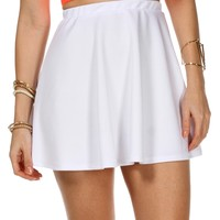 Sale-white Basic Skater Skirt