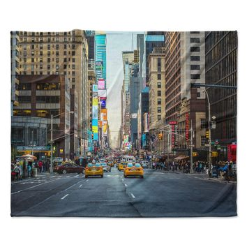"Ann Barnes ""Sunset Over 7th"" Urban Photography Fleece Throw Blanket"