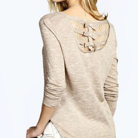 Back Lace Patchwork Long Sleeve Asymmetrical Blouse