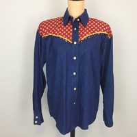 Western Shirt Womens Western Clothing Cowgirl Country Western Denim Shirt Button Up Blue Red FREE SHIPPING Medium Large Womens Clothing