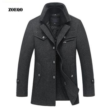 Trendy Winter Jacket ZOEQO New Winter Wool Coat Slim Fit s Mens Casual Warm Outerwear  and coat Man  Pea Coat Plus Size M-4XL AT_92_12