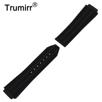 Silicone Rubber Watchband 26mm x 19mm for Hublot Big Bang Watch Band Convex Strap Butterfly Buckle Wrist Belt Bracelet Black