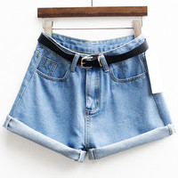 With Belt Cuffed Denim Shorts -SheIn(Sheinside)