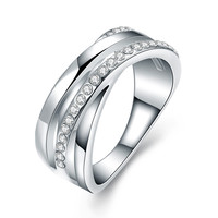 Diamond Layered Pave 18k White Gold Plated Ring