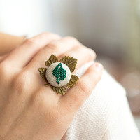 Leaf ring - Cross stitch ring - adjustable ring - nature inspired jewelry - r001