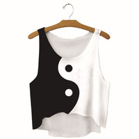 Summer Womens Black White Tai Chi Printed Slim Show Hilum Tank Top Sports Vest Gift - 34