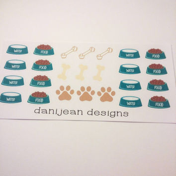 Dog food stickers, dog supplies, planner stickers, planner supplies, dog stickers, bone stickers, food stickers, treat stickers