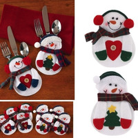 Snowman Christmas Xmas Silverware Tableware Dinner Party Decor Cutlery Holder = 1945721348