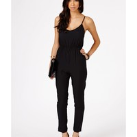Missguided - Kelsey Chiffon Strappy Jumpsuit In Black