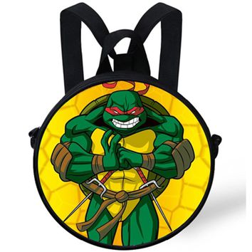 9-Inch Cute Baby Round Backpack Bag For Kids Teenage Mutant Ninja Turtles Backpack TMNT For Children Boys Preschool Bag