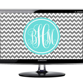 Monogrammed Desktop Wallpaper: Silver Glitter and Tiffany Blue