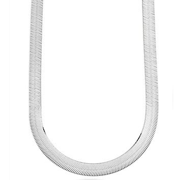 Sterling Silver Imperial Herringbone Chain Necklace, 8mm