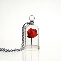 Red Rose in a Bell Jar Terrarium Necklace / Pendant