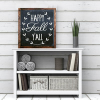 Happy Fall Y'all sign Wreath wood sign home decor rustic distressed Thanksgiving sign, fall decor, Autumn decor chalkboard style sign